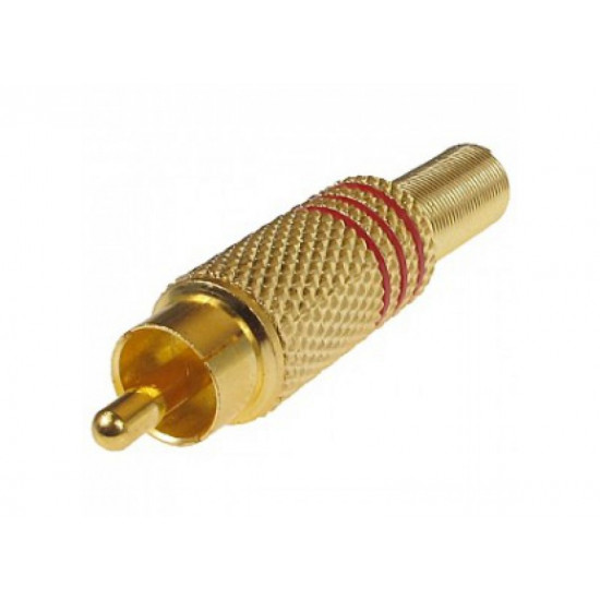 (CON210) RCA PLUG GOLD MALE - RED