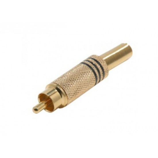 (CON211) RCA PLUG GOLD MALE - BLACK