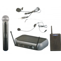 (MIC204) DUAL UHF MICROPHONE HANDHELD & LAPEL/ HEADSET SYSTEM