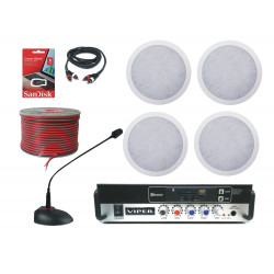 (KIT1) Small Retail / Office / Restaurant  4 Ceiling Speaker Sound system complete kit