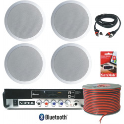 (KIT4C) Small Retail 4 Ceiling Speaker Sound system complete kit
