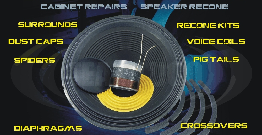 Loudspeakers repairs and re-cone, replacement diaphragms and cabinet repairs